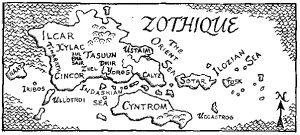 Mapa de Zothique, creado por Lin Carter